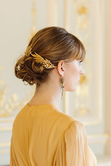 Textured Gold Leaf Hair Comb