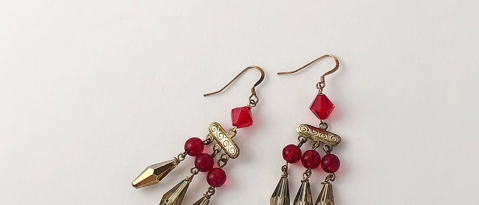Red and Gold Crystal Fringe Earrings