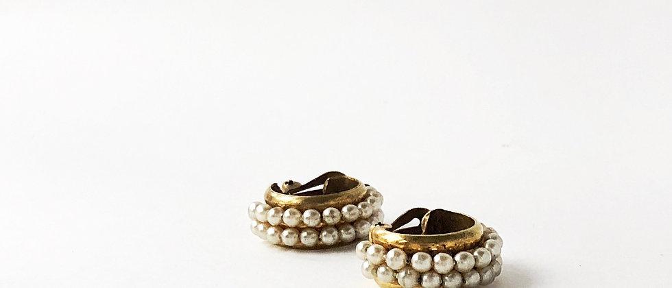 Mid-century double row pearl beaded hoop earrings