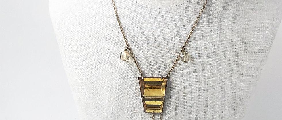 Golden Glass Art Deco Negligee Necklace