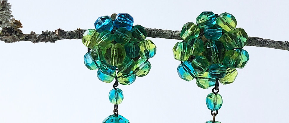 Lagoon crystal clip earrings