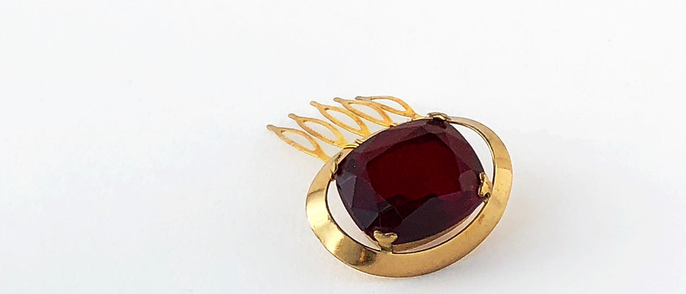 Deep Red and Gold Hair Comb