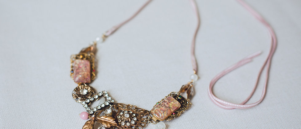 Gold Filigree and Pink Fire Opal Paste Necklace