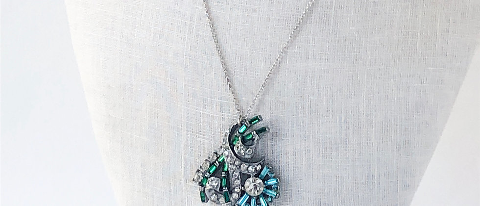 Blue Skies and Lush Lawns 1950s floral pendant necklace