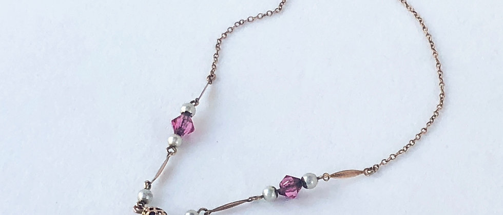 Thirties Pink Drop Crystal Necklace