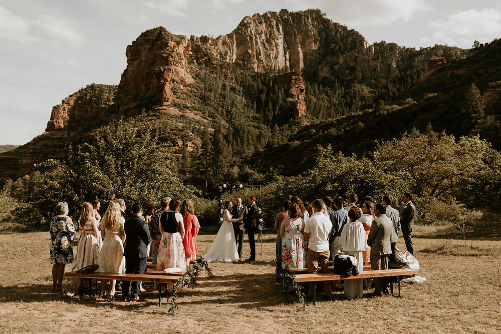 Sedona Cloth and Flame outdoor wedding ceremony