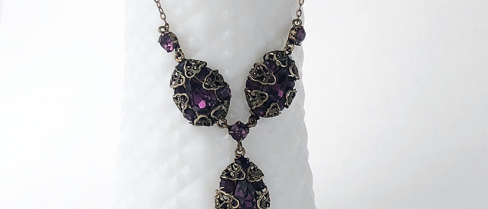 Vintage Amethyst Czech Crystal and Filigree necklace