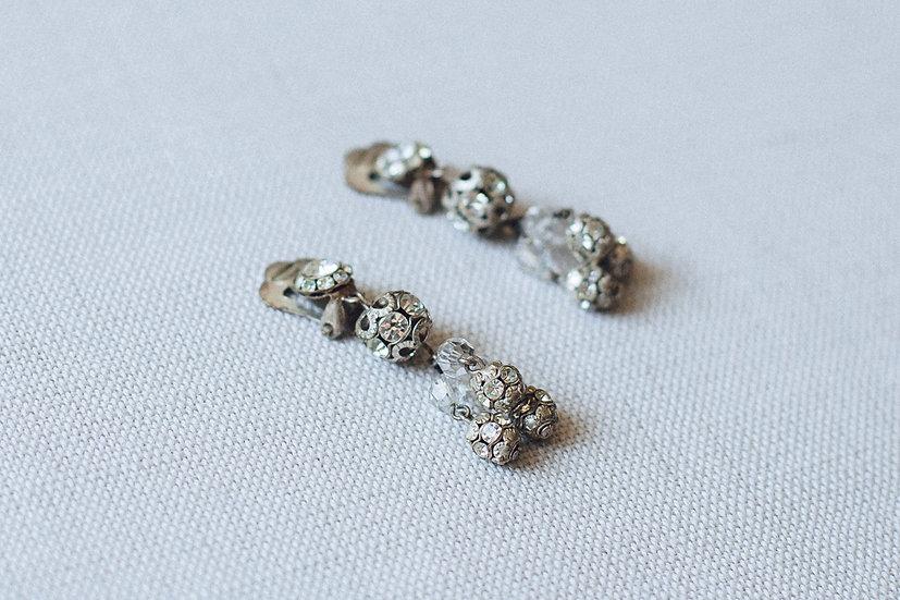 Filigree Crystal Ball Cluster Drop Earrings