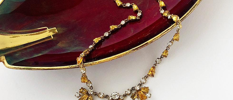 Topaz Rhinestone Art Deco Necklace