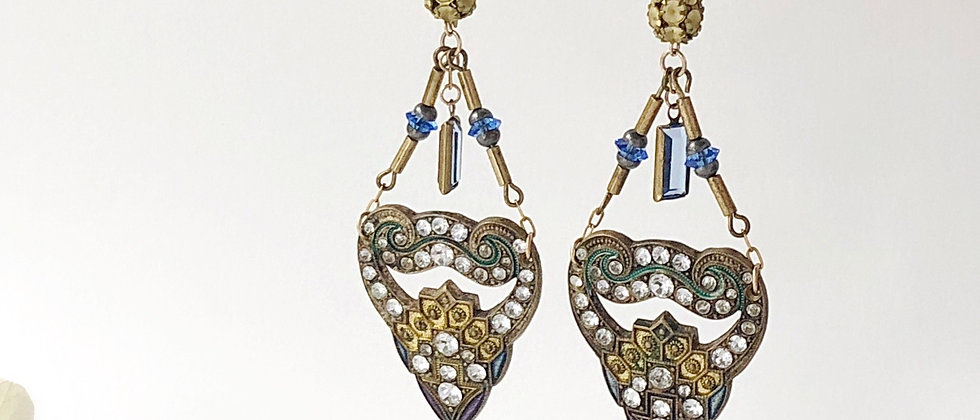 1920s Enamel and Paste Buckle earrings
