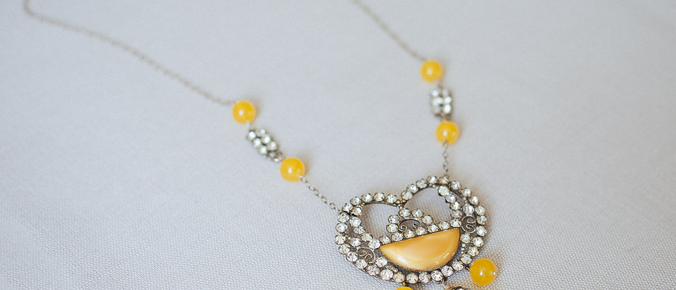 Sunshine Yellow Art Deco Necklace
