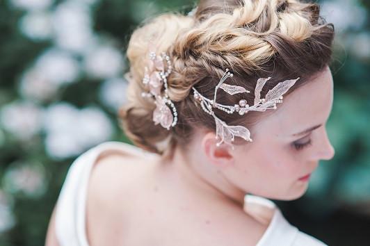 braided textured bridal hair leafy hair vine