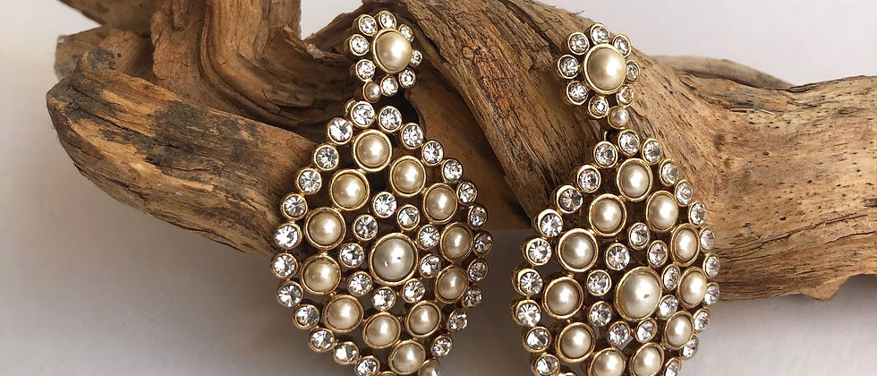 Pearl and Diamante Earrings by Monet