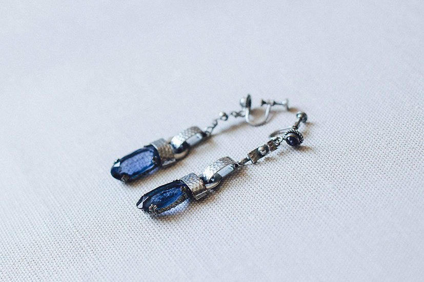 Cobalt Blue and Chrome Drop Long Earrings