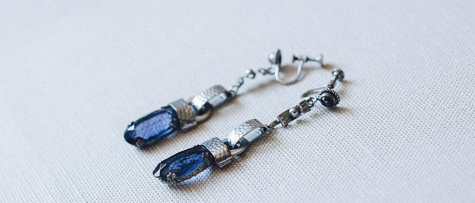 Cobalt Blue and Chrome Drop Long Earrings