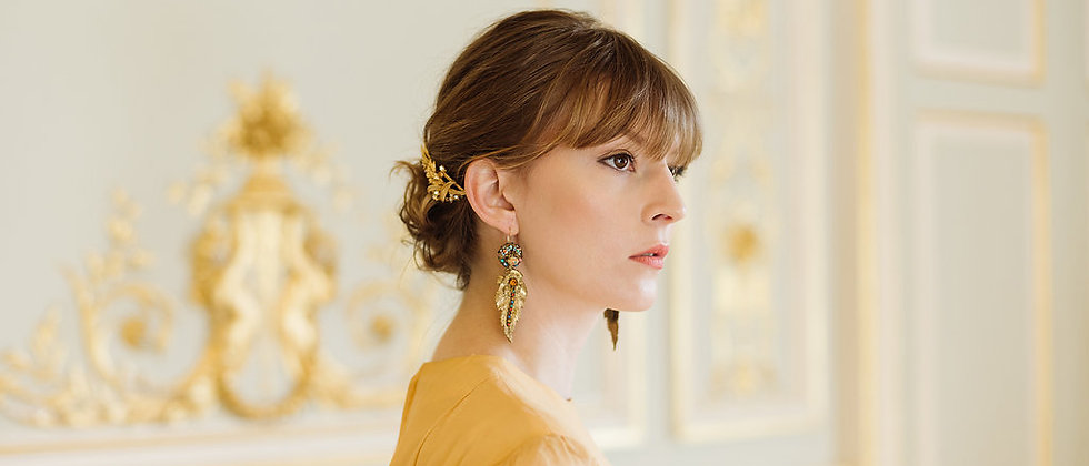 Gold Deco Leaf Earrings