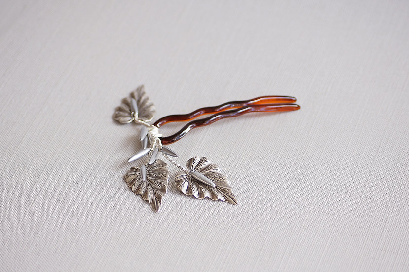 Silver Philodendra hair pin