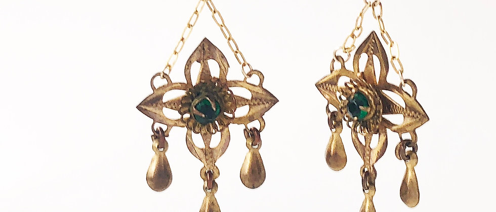 1920s gold and green paste drop earrings