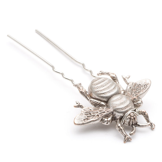 Little Silver Bee hair pin
