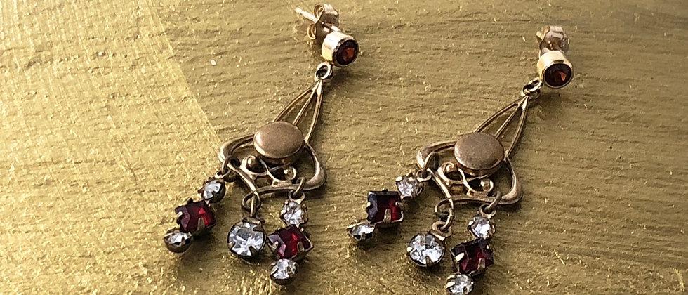 Red Stone Art Nouveau drop earrings