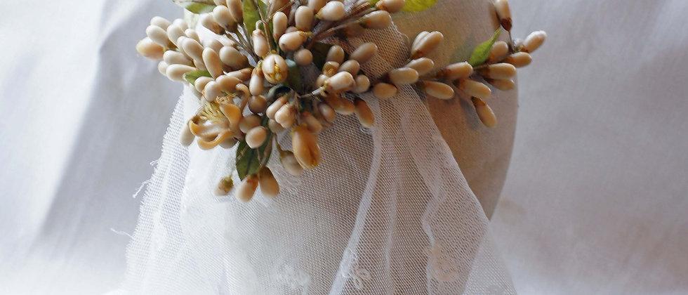 Antique wax flower headdress