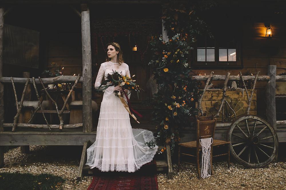 bohemian bridal gown autumn bouquet gold hair accessories