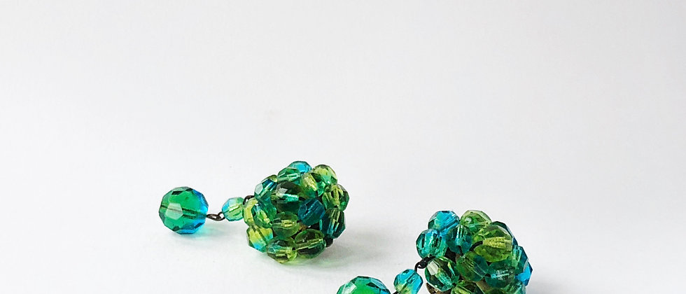Lagoon crystal clip earrings