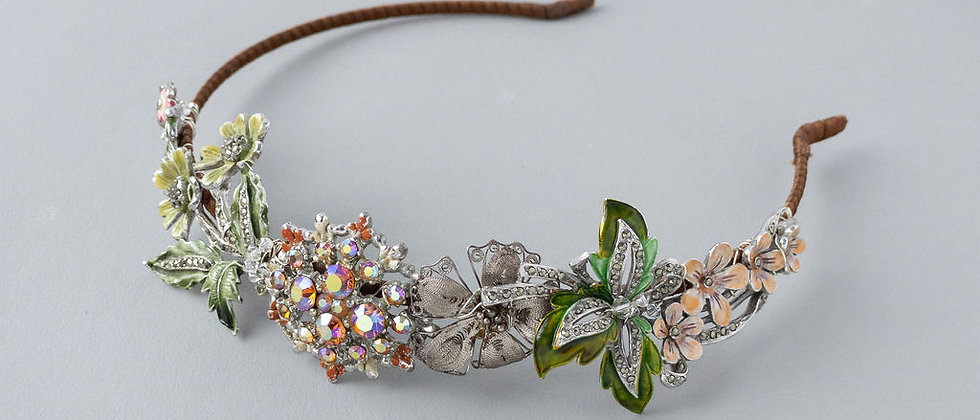 Peaches and Green Marcasite and Enamelled Detail hairband