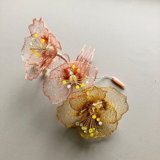 Large Golden Poppy Bloom hair comb