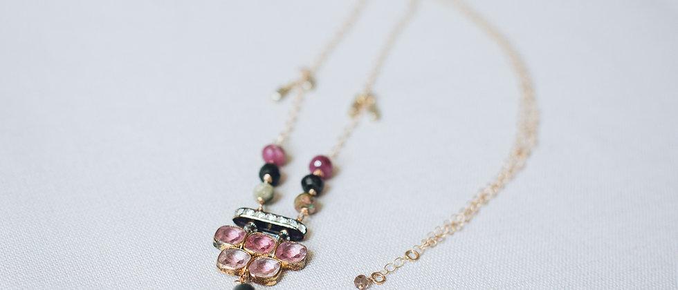 Antique Pale Amethyst Paste Lariat Necklace