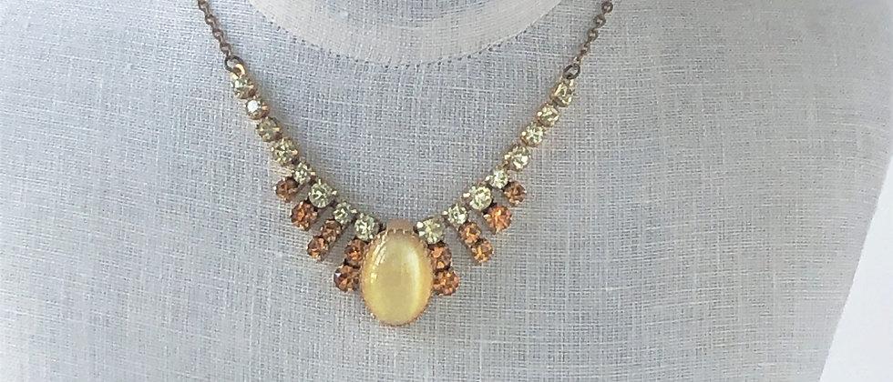 Sunbeam vintage satin glass necklace