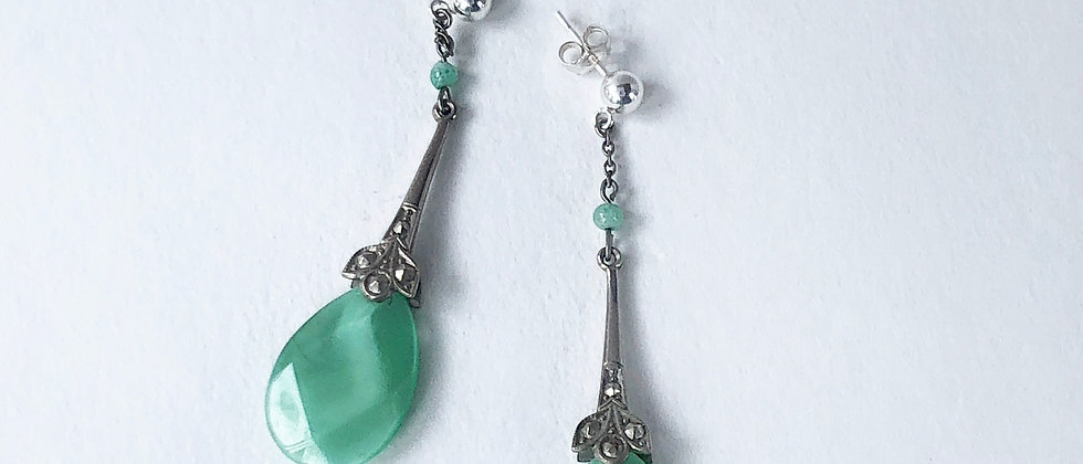Fresh Green Satin Glass earrings