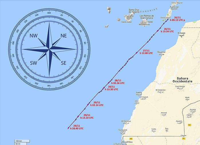 LUAR 040 TRACK dopo 4 giorni di navigazione per Capo Verde