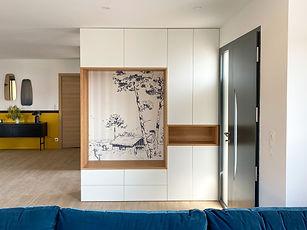 meuble d'entrée sur mesure, papier peint panoramique isidore leroy