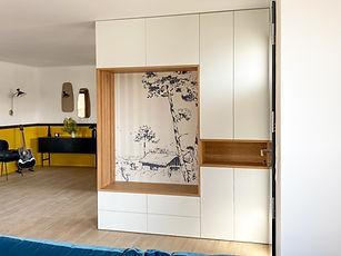 meuble entrée sur mesure avec banquette et niche bassin d'arcachon