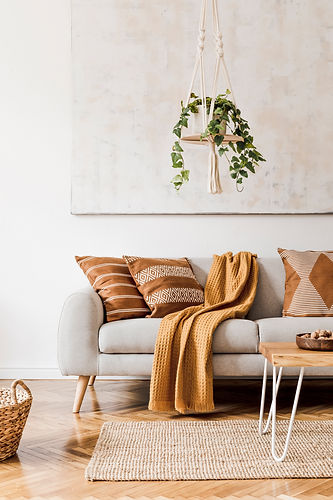 Modern boho interior of living room at c