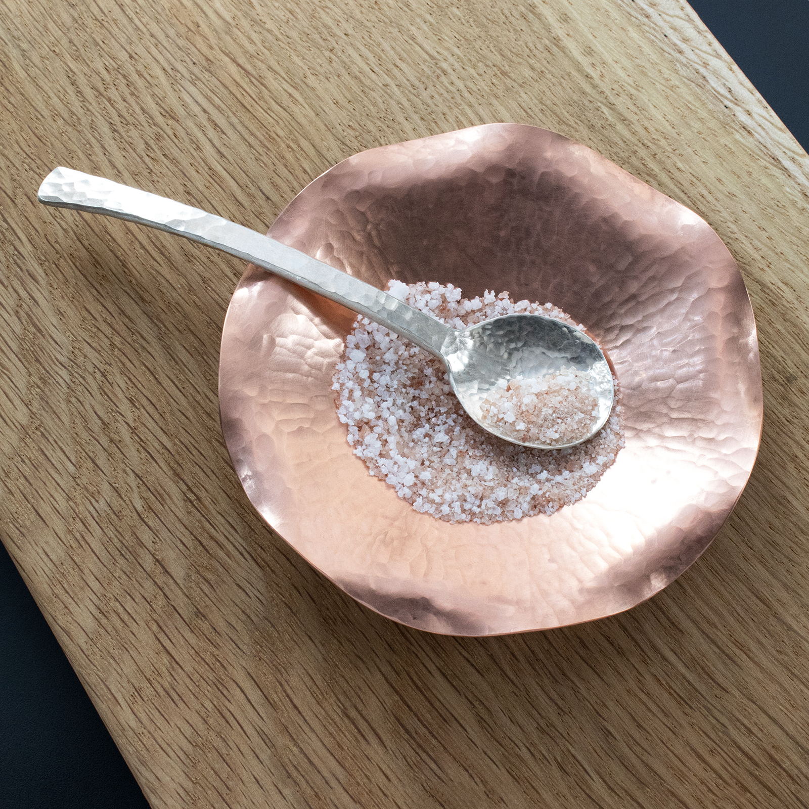 SS Sugar Spoon in copper salt dish