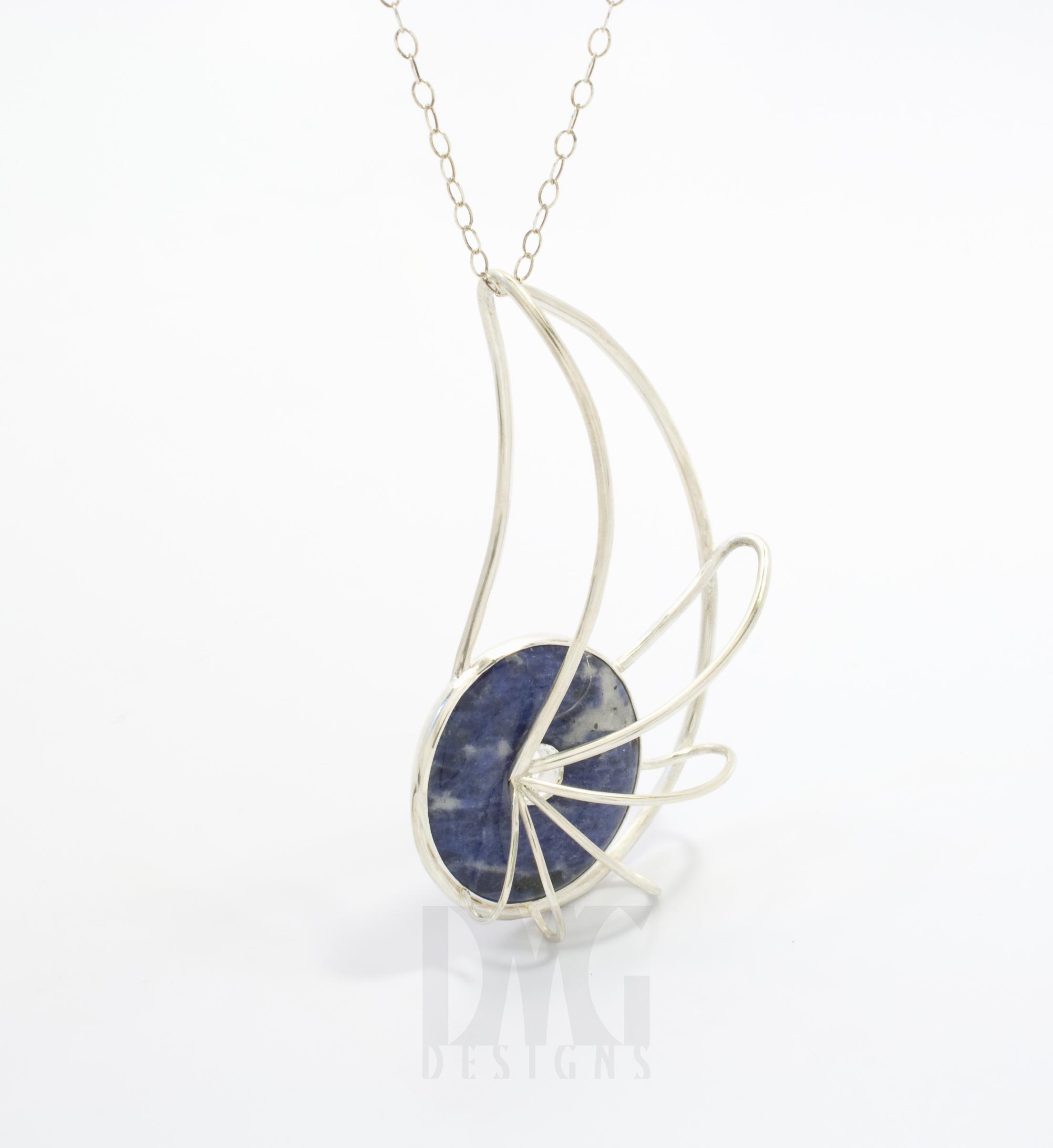Sodalite nautilus pendant
