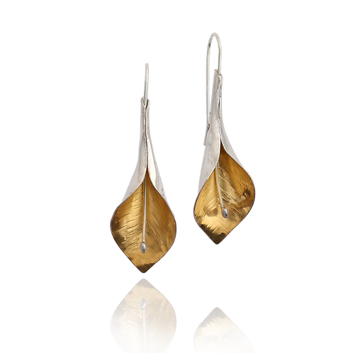 Peace Lily Dangle Earrings - Gold & Silver