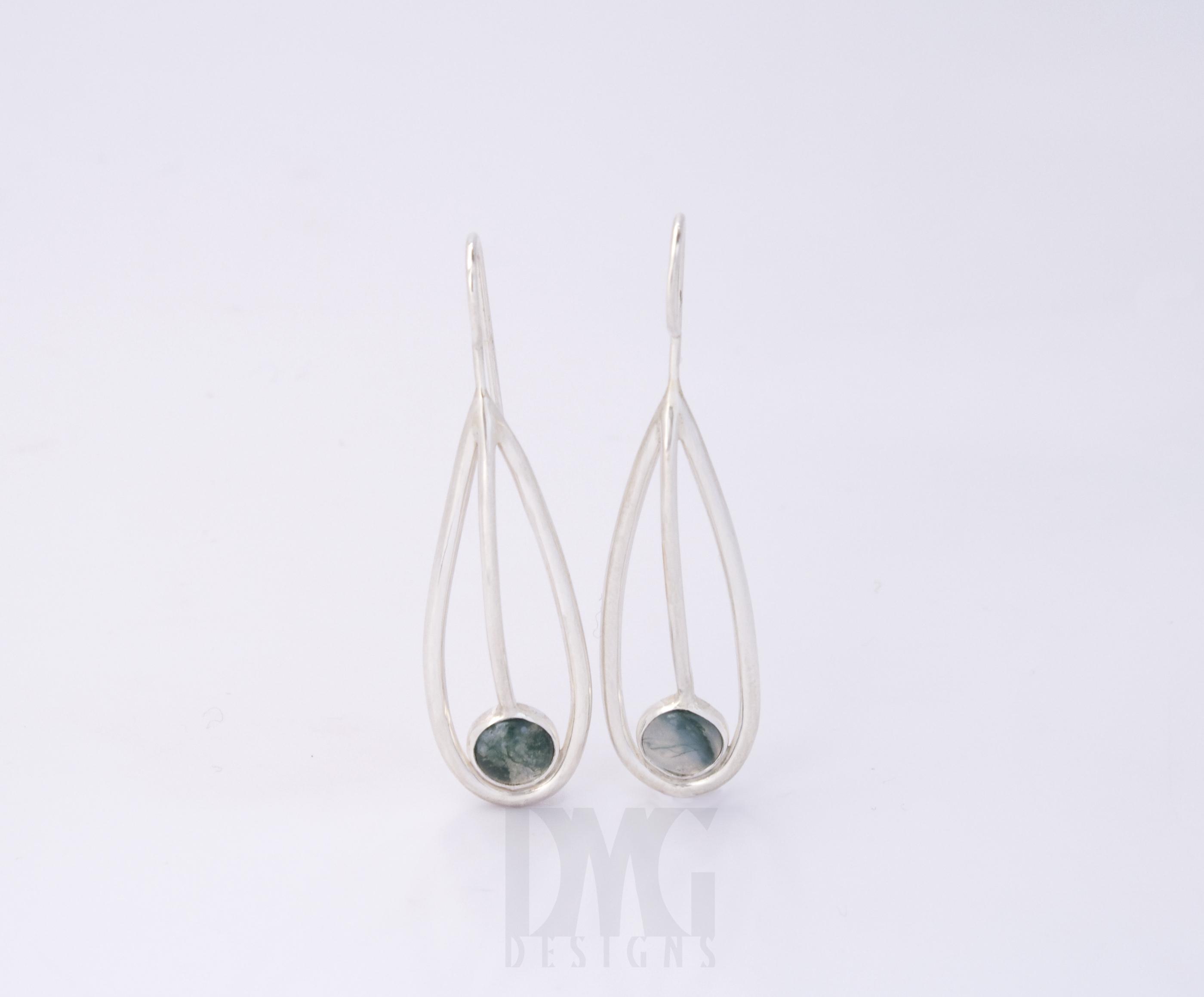 Moss Agate Leaf Line Dangle Earrings