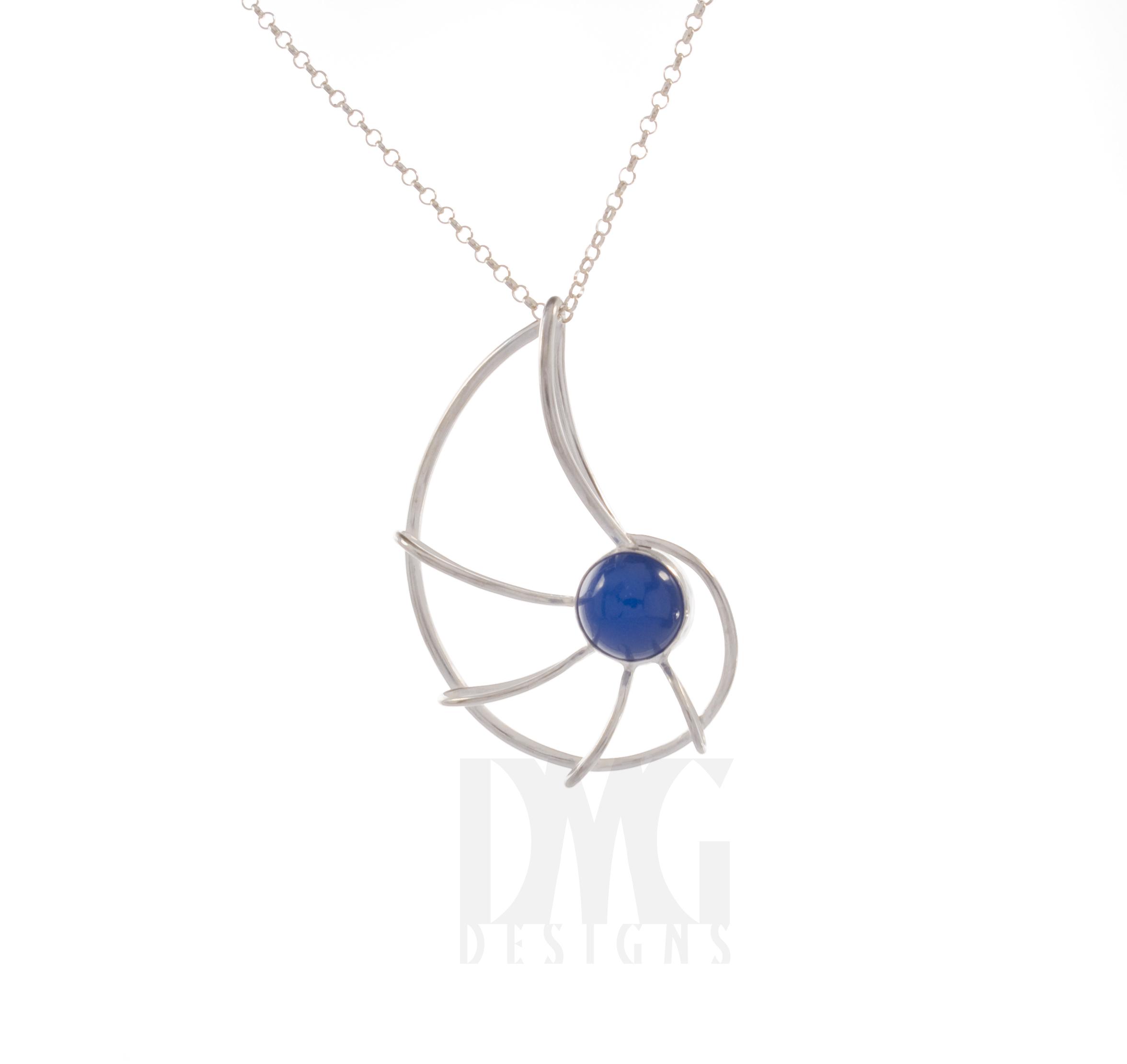 Blue Onyx Small Nautilus Pendant