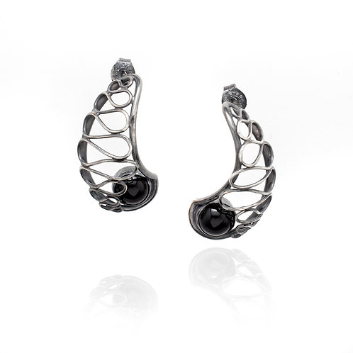 Nautilus Lace Earrings - Black Onyx