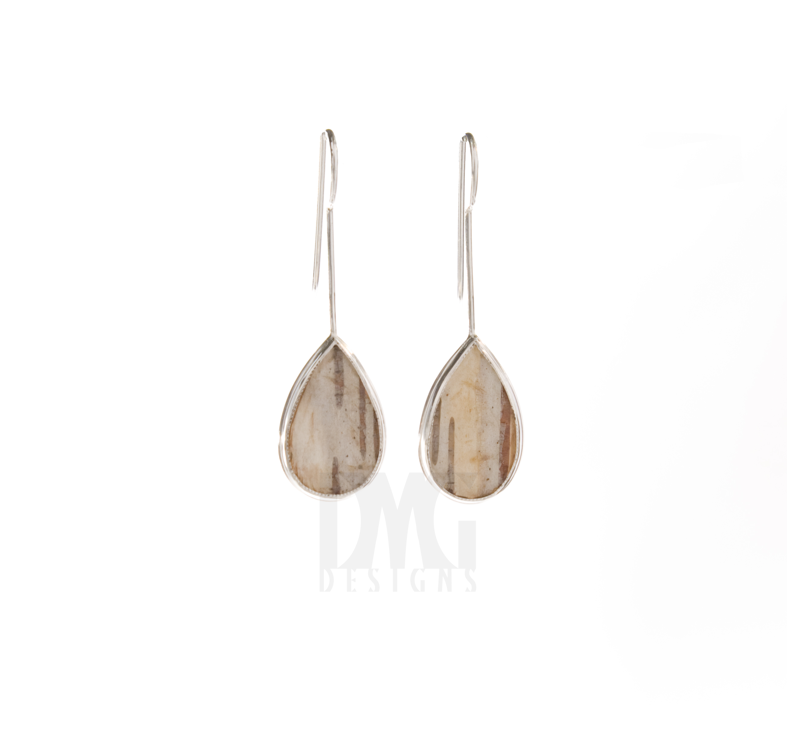 Bezel Set Birch Bark Dangle Earrings