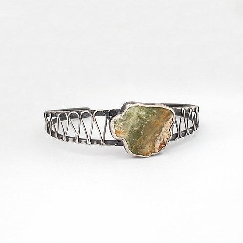 Green Beach Stone Cuff Bracelet
