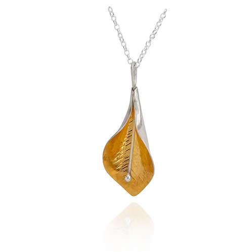 Peace Lily Pendant - Gold & Silver