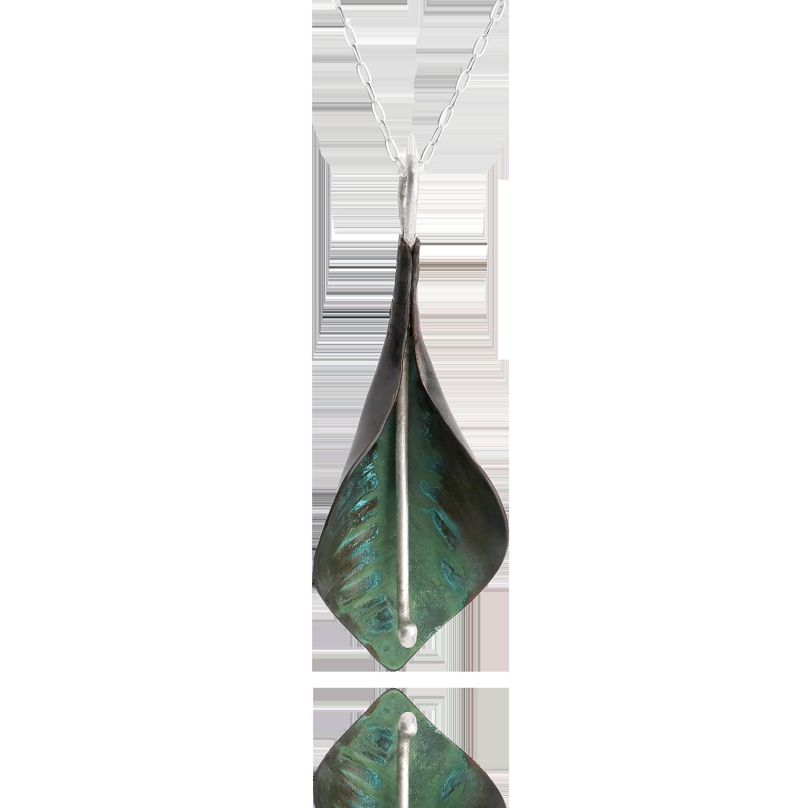 Peace Lily Pendant - Green Copper