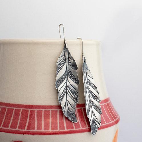 Patterned Feather Dangle Earrings