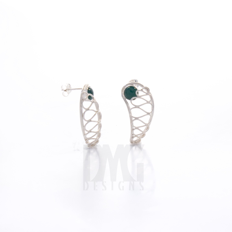Green Onyx Gesture Nautilus Wirework Earrings Side