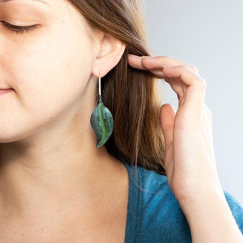 Green Beech Leaf Dangle Earrings