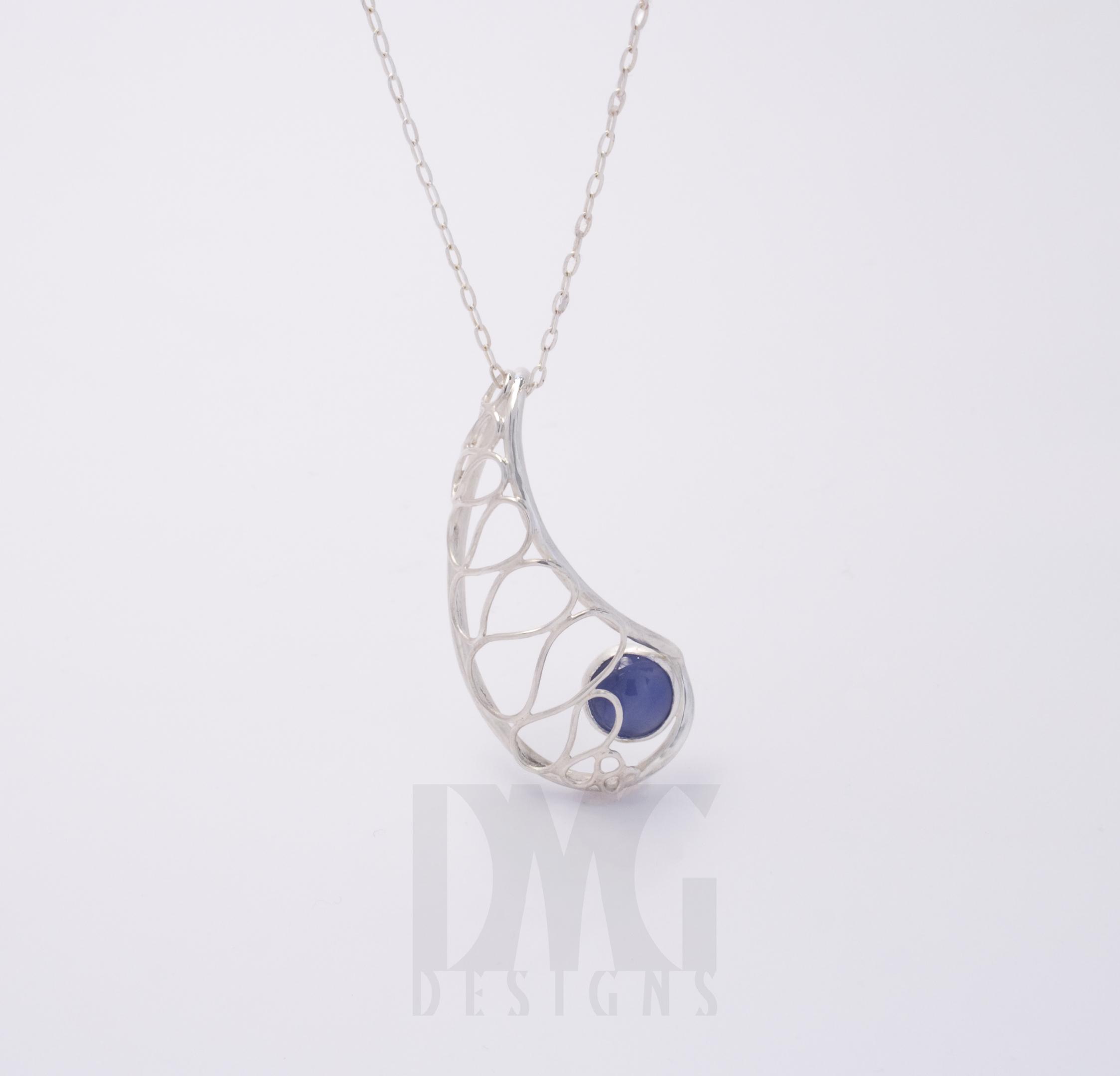 Blue Onyx Nautilus Wireframe Pendant